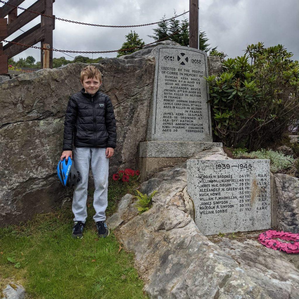 Kellen at the Corrie war memorial.