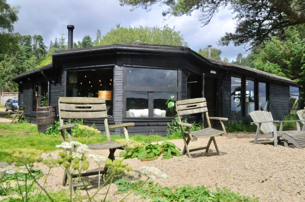 The refurbished shack at Cladach and the beer garden.