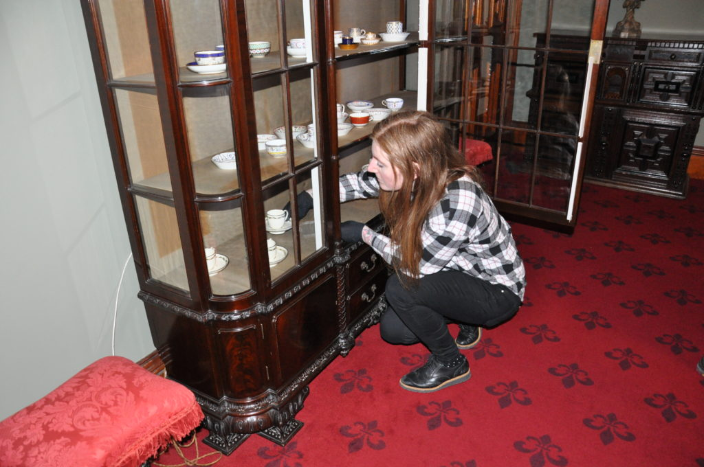Curator Susan Beattie at work in the castle.