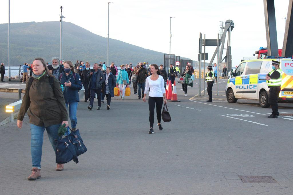 Shaken passengers come off the Waverley.