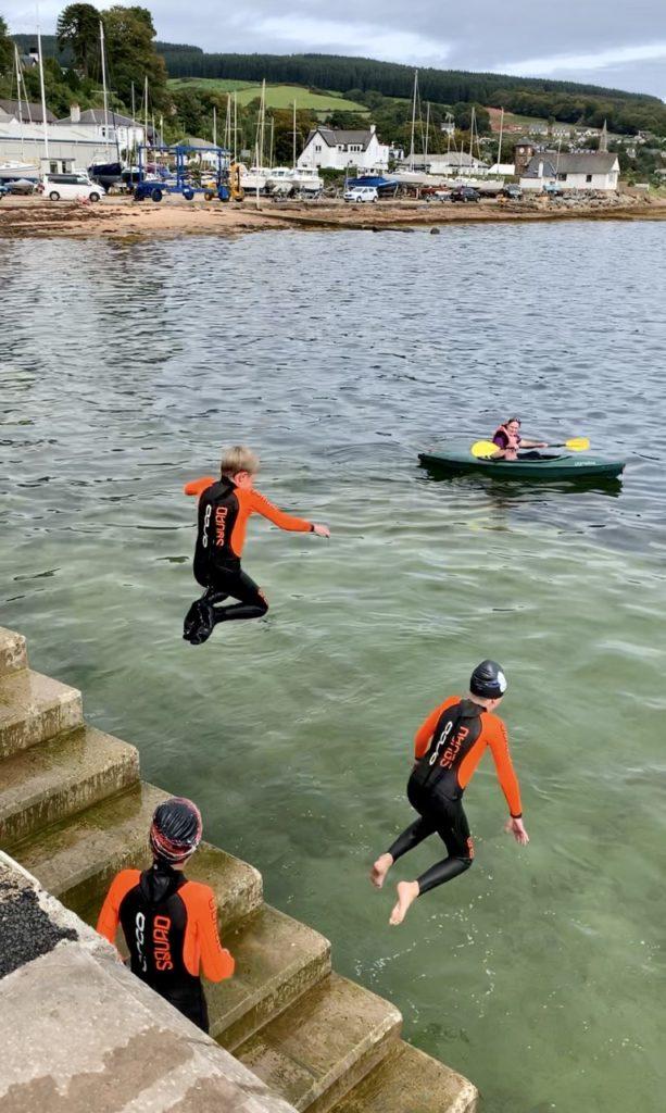 Pier jumping in Lamlash.