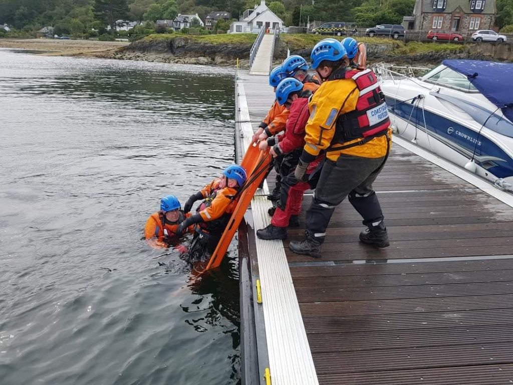 The Arran Coastguard practice water rescues at Lochranza.