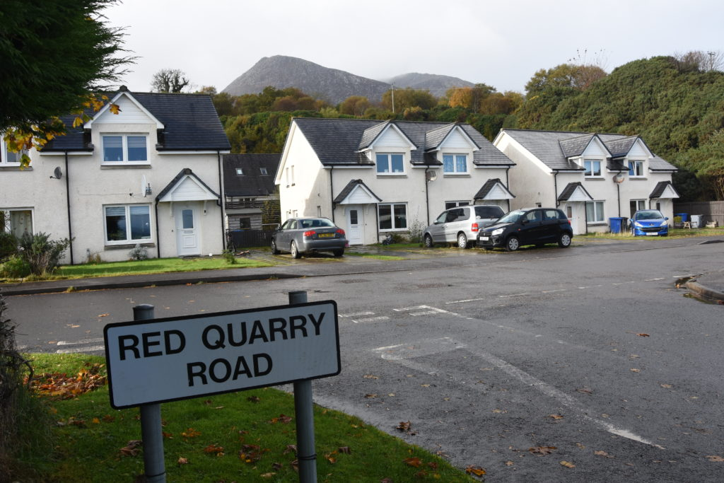 The 'hidden' houses in Red Quarry Road.