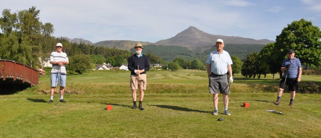 JUNE: Brodick golfers enjoy a return to the game after lockdown restrictions were eased.