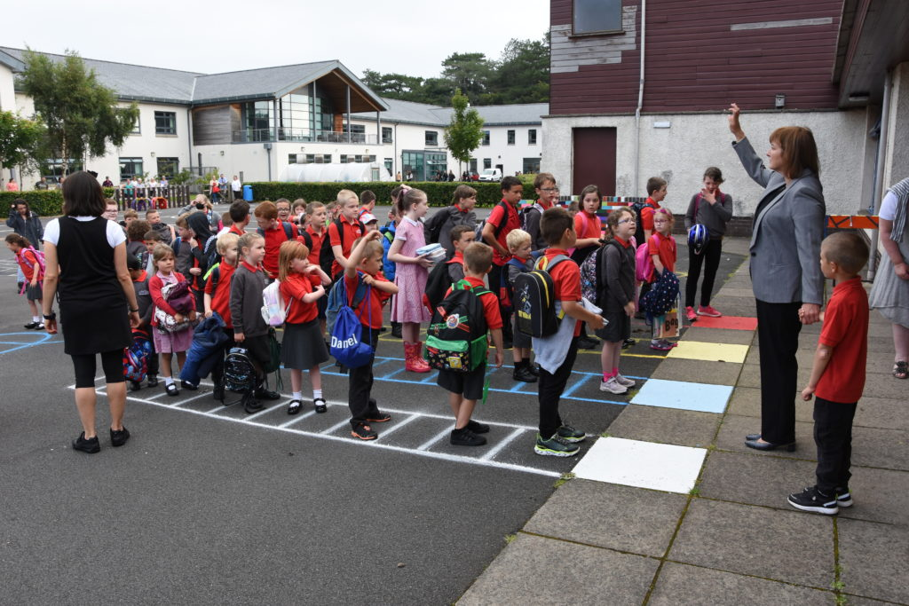 AUGUST: After almost five months away from school, pupils at Lamlash primary returned to school where they were welcomed by acting head Mrs Foster.