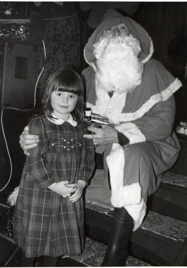 Sophie Marriott with Santa at Whiting Bay SWI party last Saturday.