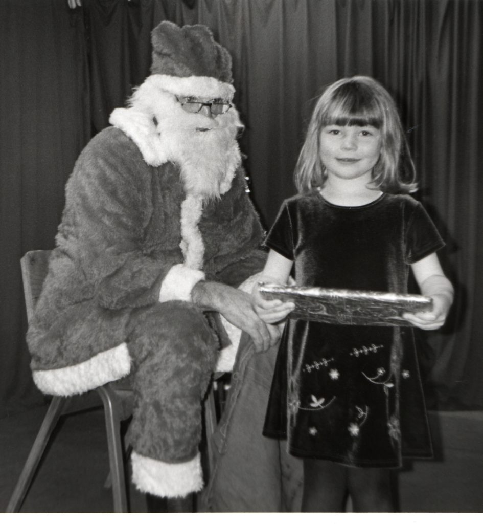 Katherine O'Donnelly with Santa at the Pirnmill primary school concert.