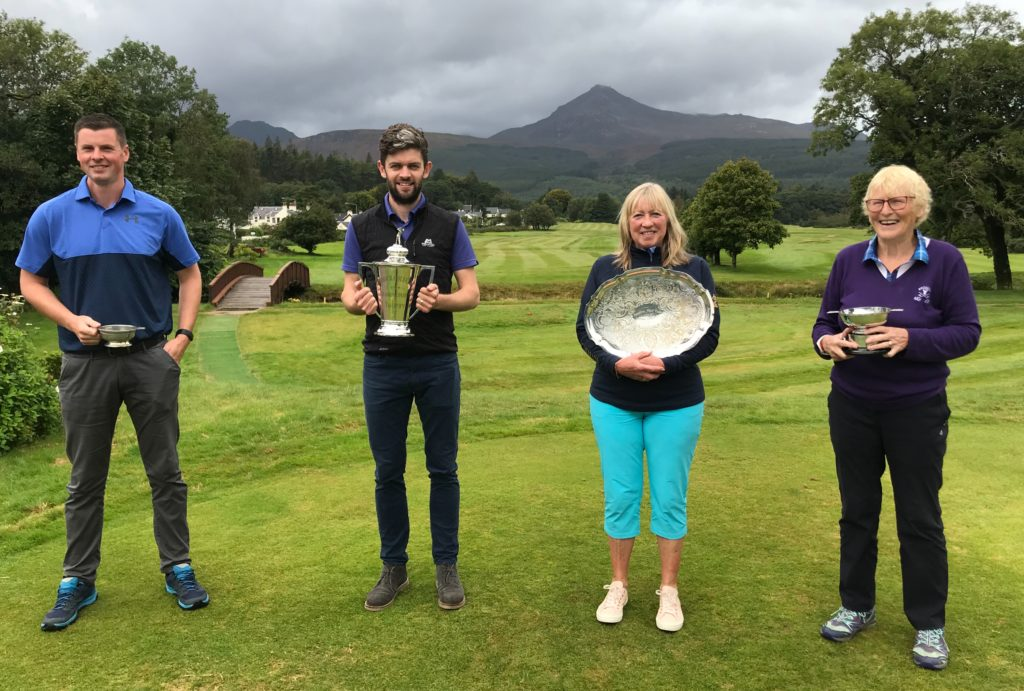 SEPTEMBER: Brodick Golf Club's 2020 Club Champions Ross Duncan and Ann May flanked by runners-up Ewan McKinnon and Fiona Henderson.