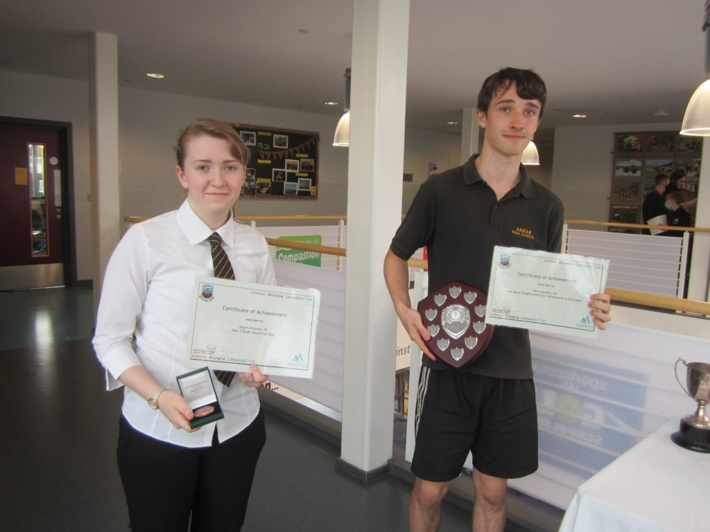 OCTOBER: Award winners at Arran High School - Naomi Provan with the John S Scott Award for Dux medal and Milo Godwin who won the Margaret Wright Award for Attainment in S4 exams. NO_B41awards13