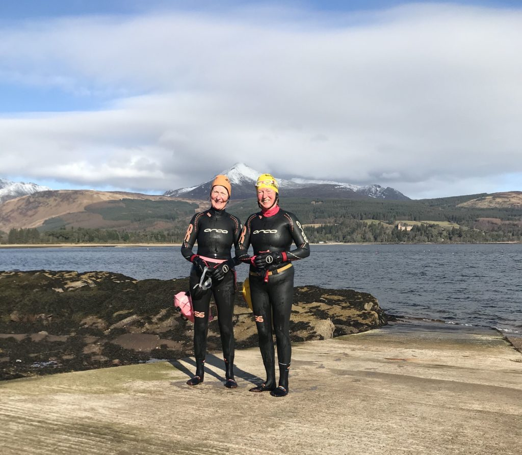 NOVEMBER: Arran twins, Anne Hart and Heather Raeside are still enjoying open water swimming and even their 70th birthday could not stop them from taking to the water to enjoy their favourite pastime.