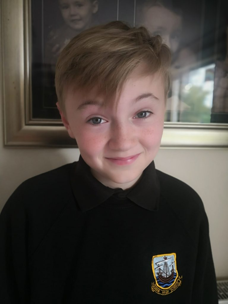 SEPTEMBER: Accomplished actor, 12-year old Harry Gilmore was delighted to have been offered a scholarship at the prestigious Glasgow Academy of Music, Theatre and Arts.