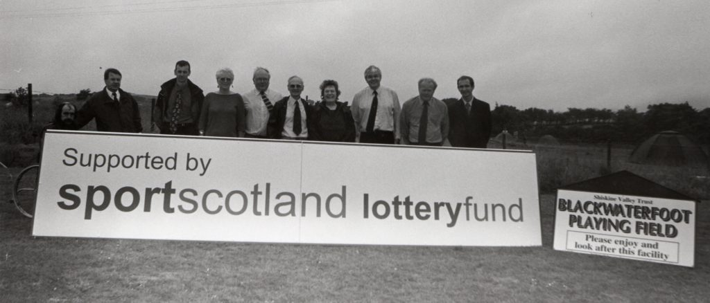 The Shiskine Valley Trust has received funding from the sportscotland lottery fund to help revamp the Blackwaterfoot playing field and whose representatives visited the island this week.