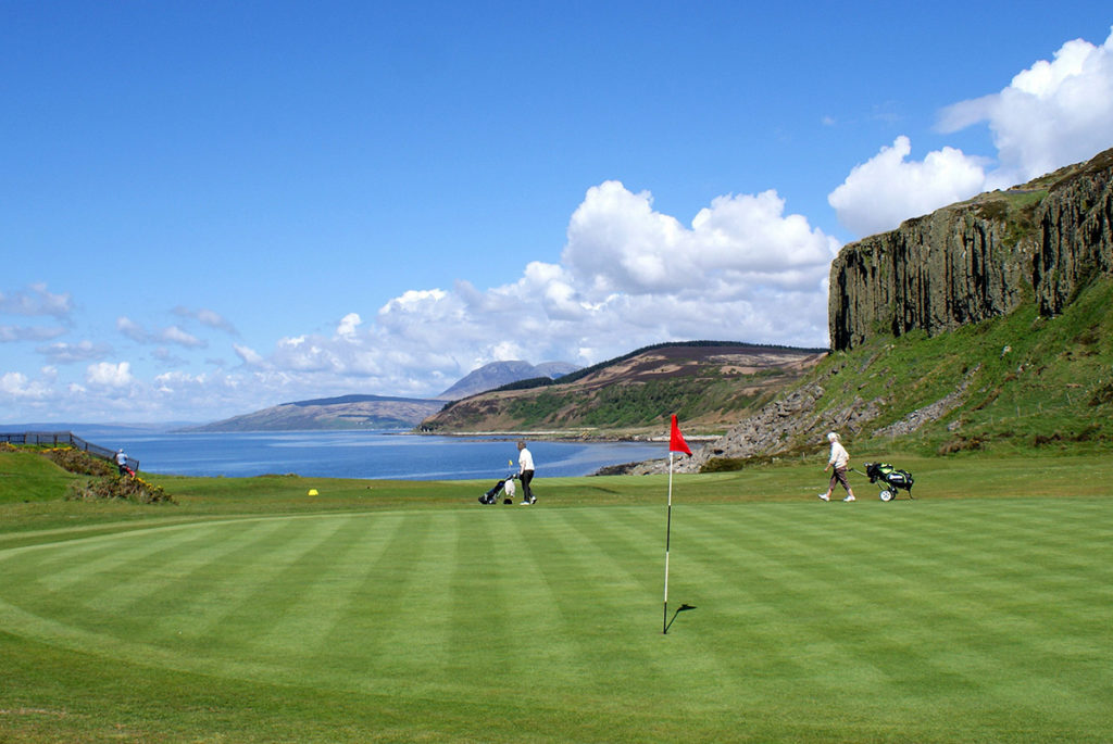 One of the greens at Shiskine in the shadow of Drumadoon.