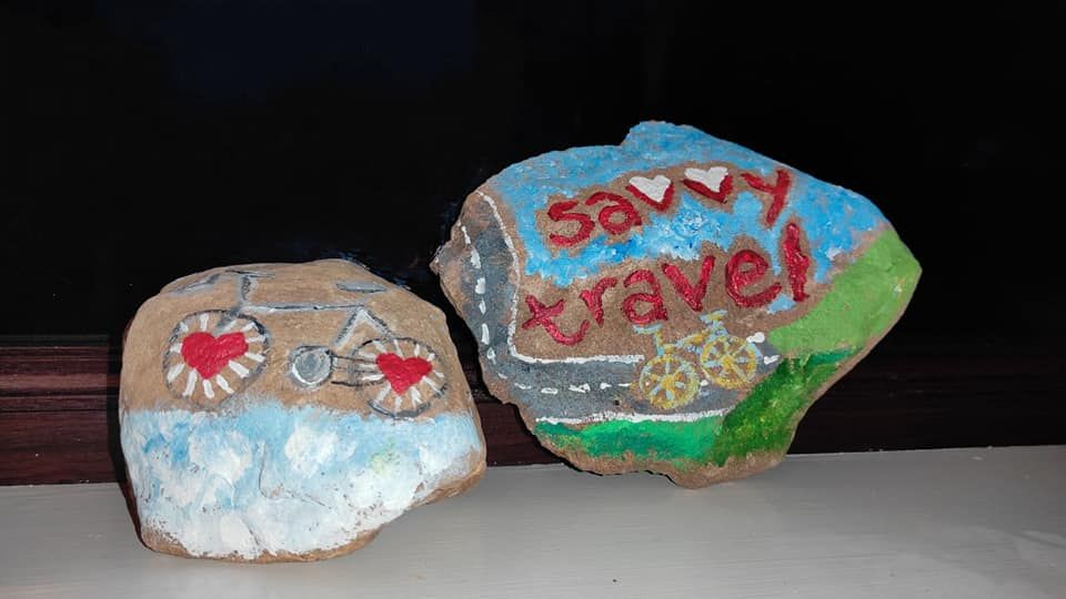 Painted stones getting the message across.