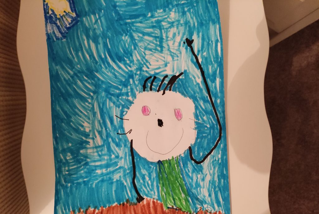 Maya Wals, four, from Dunoon received a commended award for this picture of Corrie in her garden.