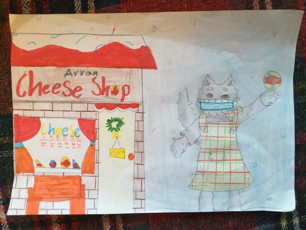 Hari Boss, nine, from Glasgow entered his picture of Corrie at the Arran Cheese Shop which received a commended prize.