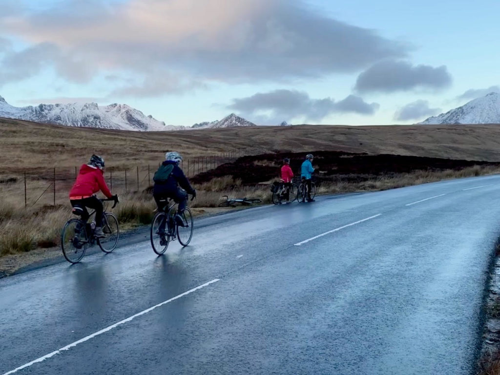 The Arran Belles at the top of the String Road.