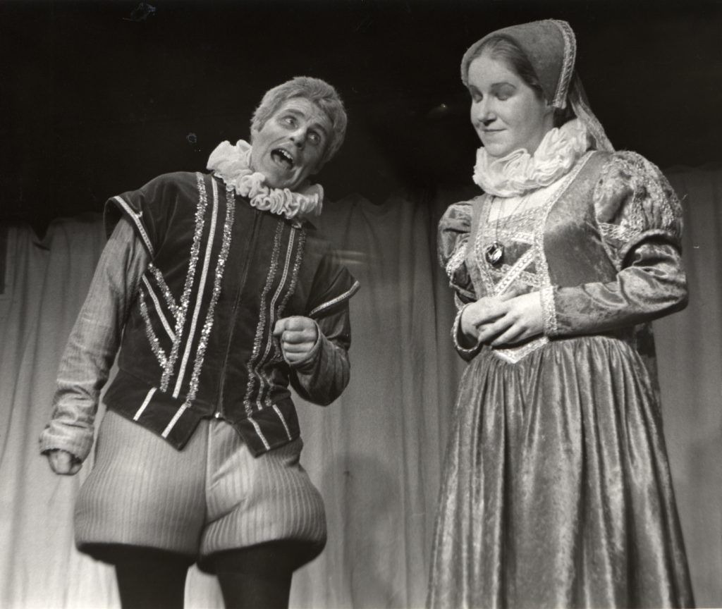 Alan Nicol and Karen Curzons in Don't Blame it on the Boots, performed by Whiting Bay Club of Drama and Music.