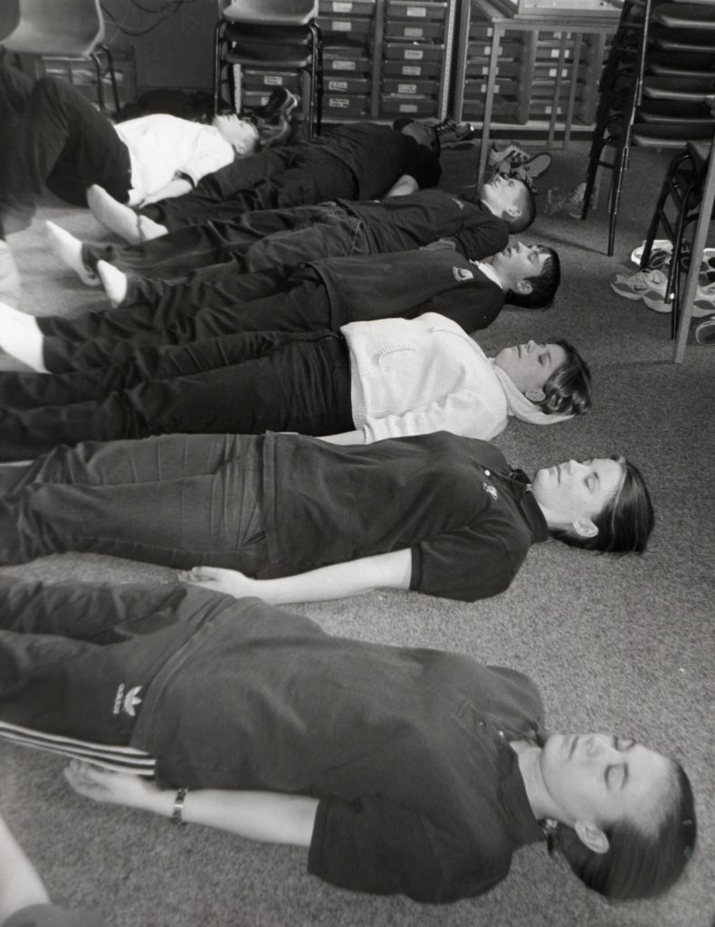 Older pupils at Arran High School chill out during a stress awareness and relaxation class held as part of the health awareness day.