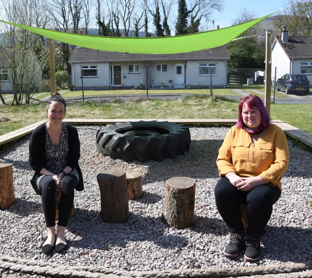 Principal teacher Lucy Marriott and Vicky Macdonald in the outdoor classroom.