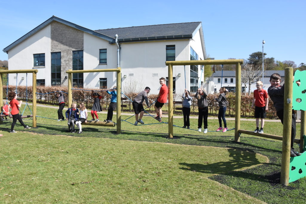 The trim trail is always popular at playtime.