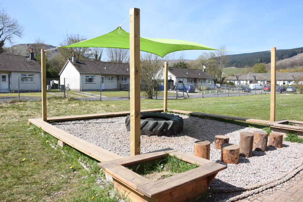 The outdoor classroom, which can also be used for play.
