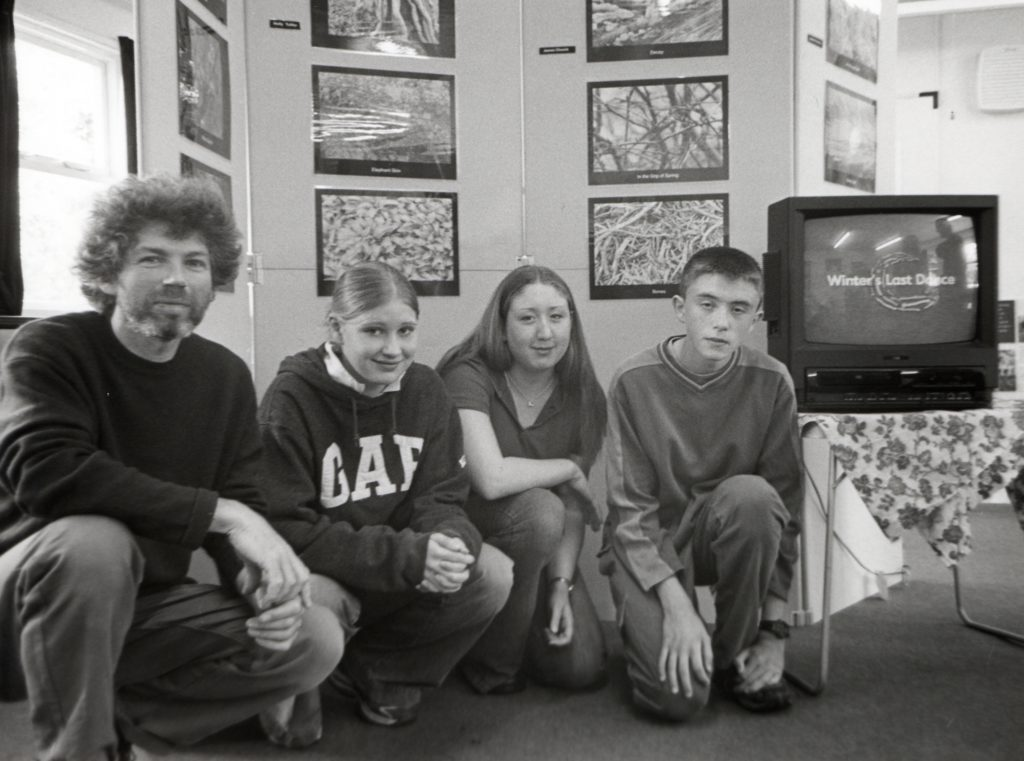 A small exhibition in the Country Park ranger centre, on the theme of Scotland's Native Woodlands, recently opened. It features an animated video from Arran's Duke of Edinburgh Award Scheme students. Pictured is project co-ordinator Edward O'Donnelly with students Lucy Pointon, Holly Tulika and Simon Ross-Gill.