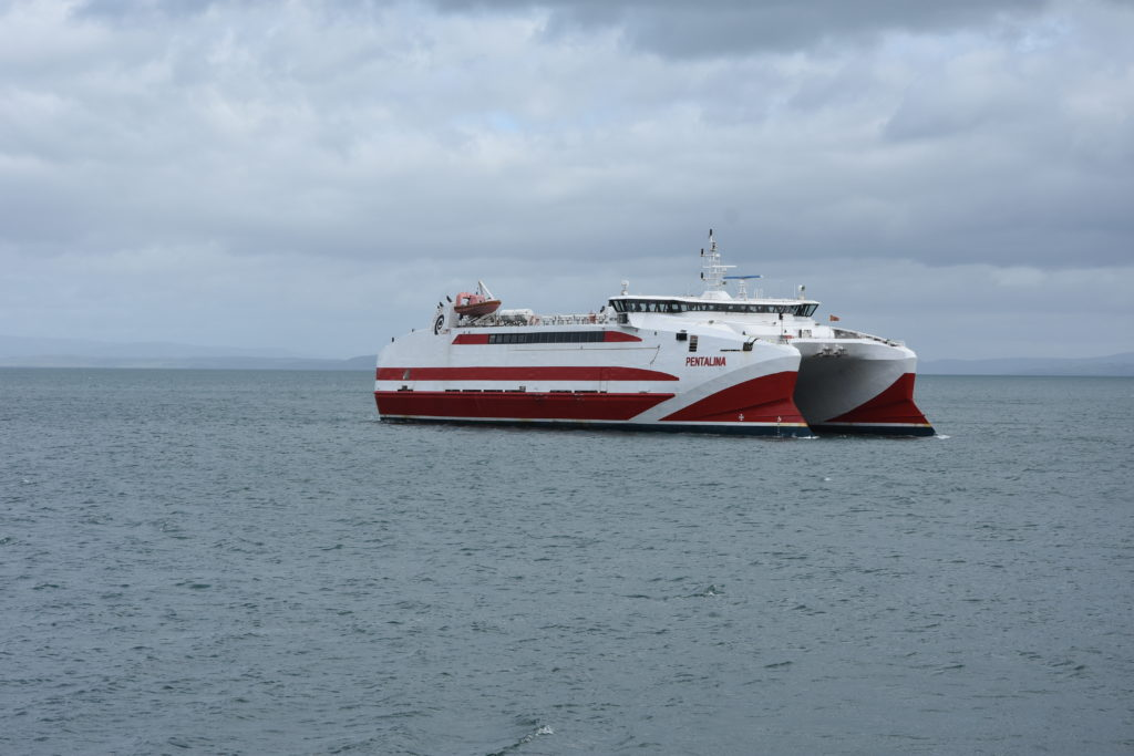 The catamaran design of the MV Pentalina can clearly be seen.
