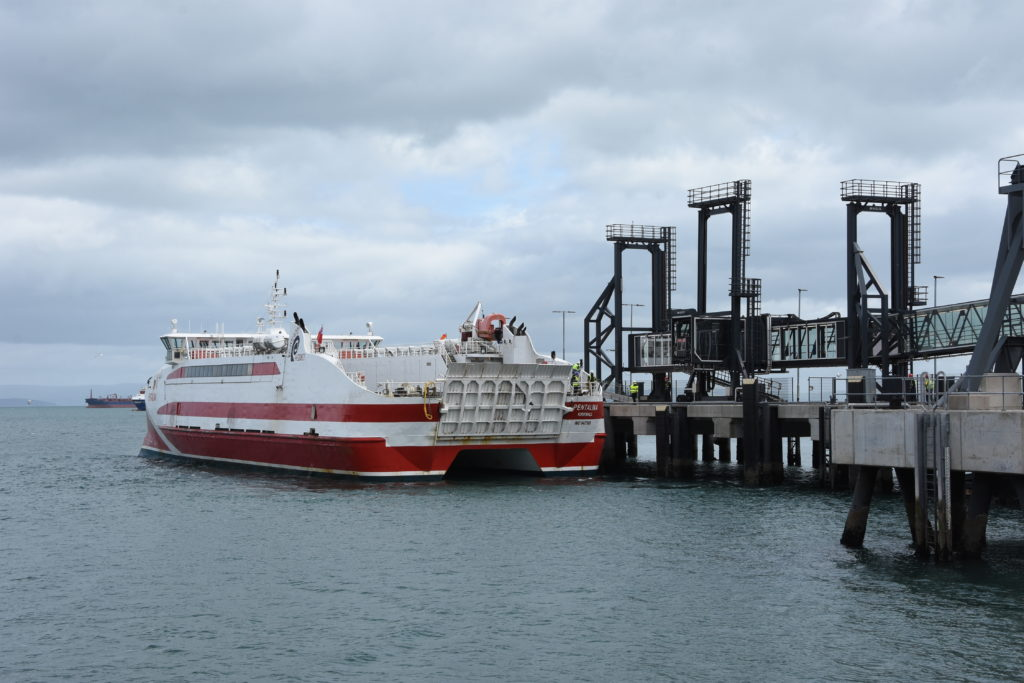 The MV Pentalina reversed into Brodick pier for the first time.