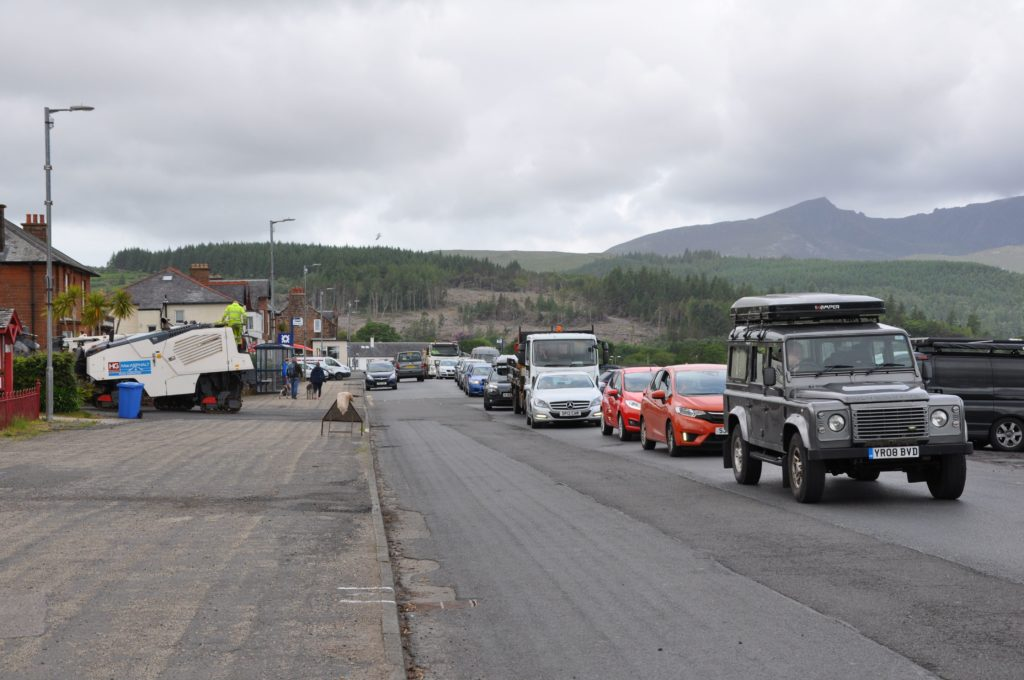 Tailbacks and queues extended, at times, from the ferry terminal all the way to the Brodick Library.