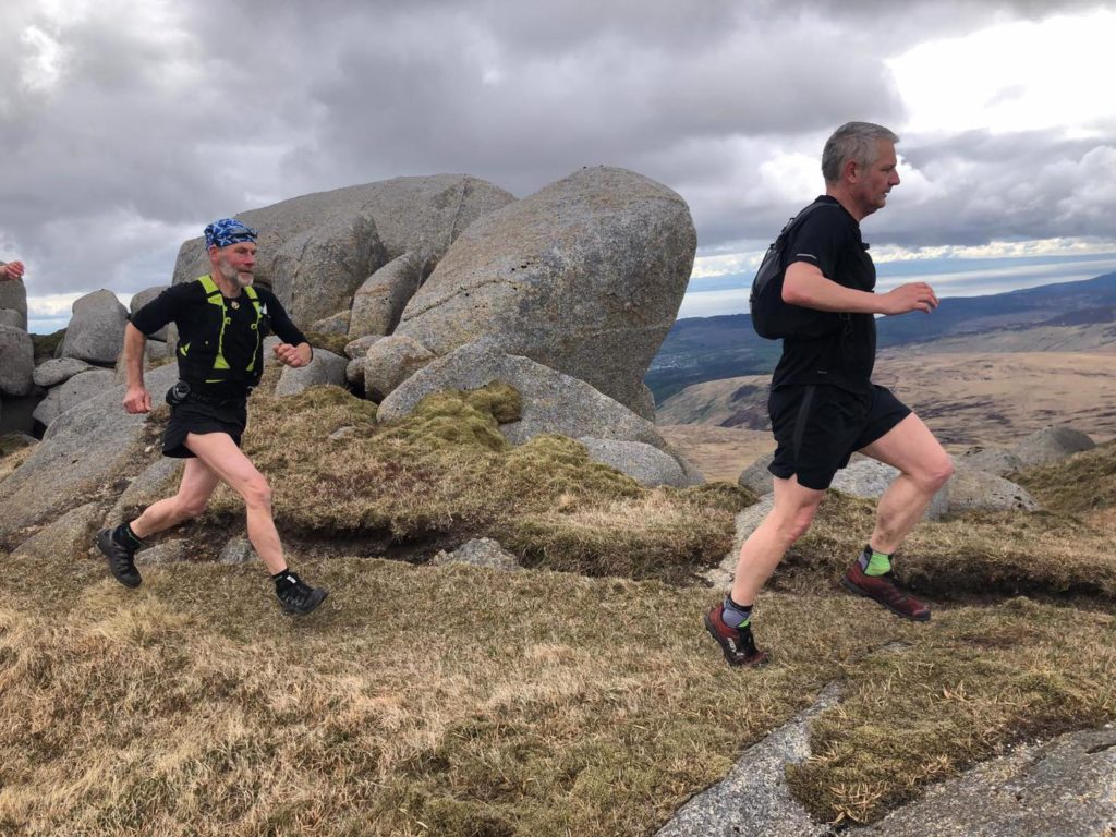 The mountain running advanced session group whizzed round the Glen Rosa horseshoe, taking in Beinns Nuis and Tarsuinn, Cir Mhor, North Goatfell and Goatfell. Photo leader Giles.