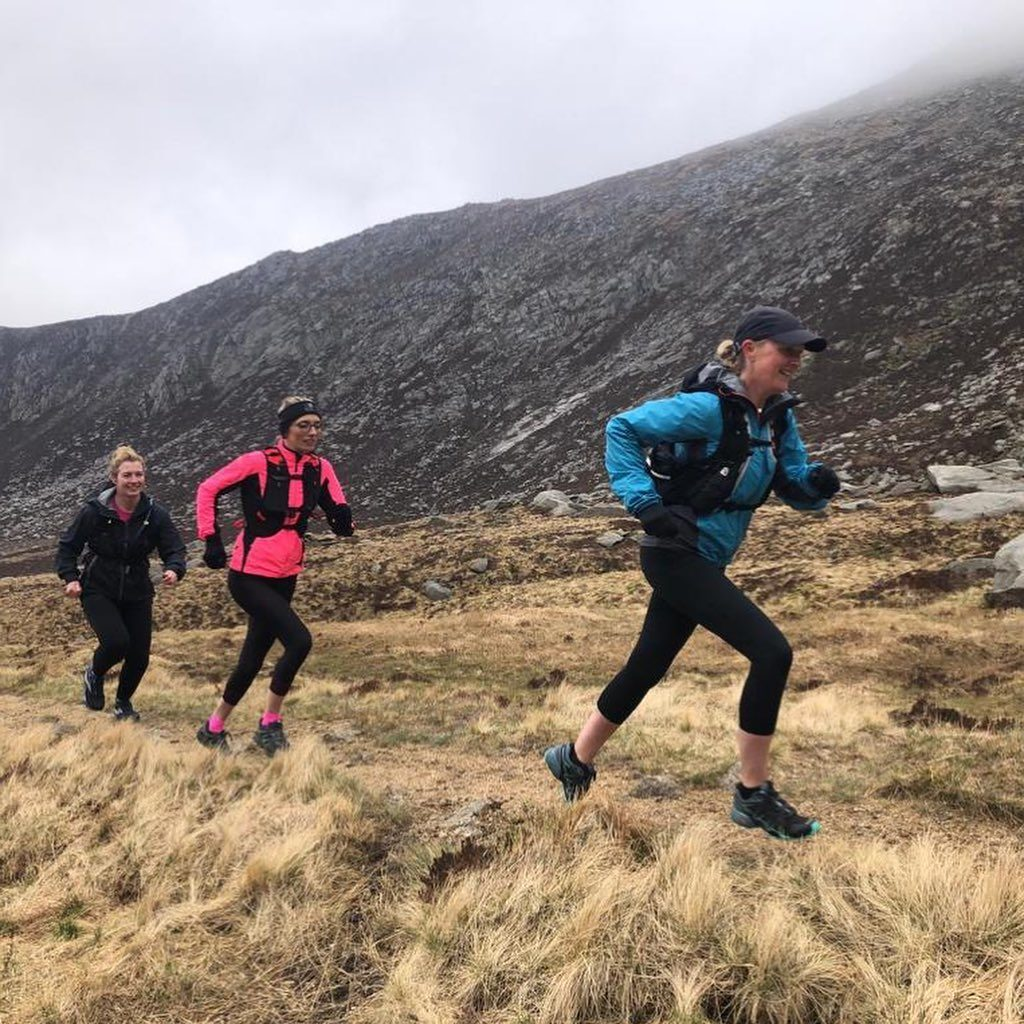 It was a novice mountain runners session, but participants Emma and Fiona were so hill-fit that as well as running Goatfell, they added on a loop along the Stacach ridge, into Coire Lan and back up onto the shoulder before descending back to Cladach. Photo leader Giles.