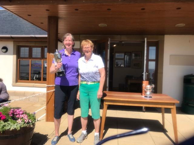 Shiskine Golf Club Championship ladies final winner, Mairi Pollock with club captain Fiona Henderson.