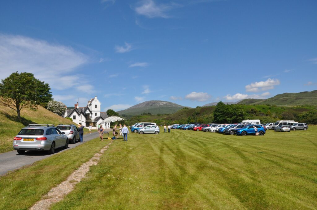 Dougarie Estate's lawn was transformed into a makeshift car park for visitors.