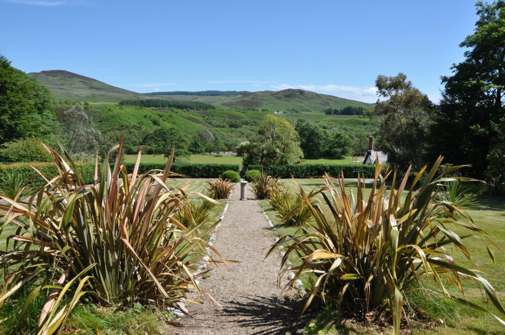 The views of the surrounding countryside from the top of the terraced gardens.