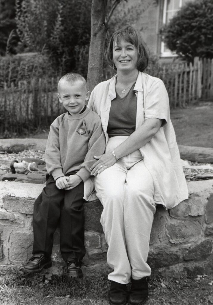 Mrs Susan Kelly at Corrie Primary School with new pupil John Lyle.
