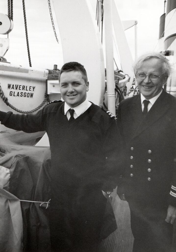 Chief officer Iain Jamieson and purser Walter Bowie pictured on the last sailing of the season on the paddle steamer Waverley.