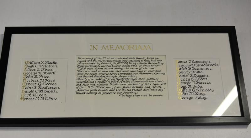 The memorial plaque naming all the crash victims at Arran Heritage Museum.