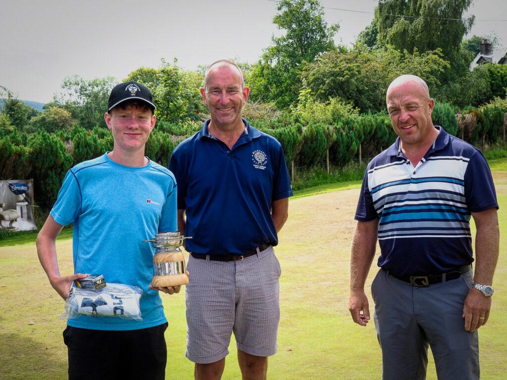 Whiting Bay Junior Open Champion Ross Baillie with tournament hosts Scott Adair and Alan Foggo.