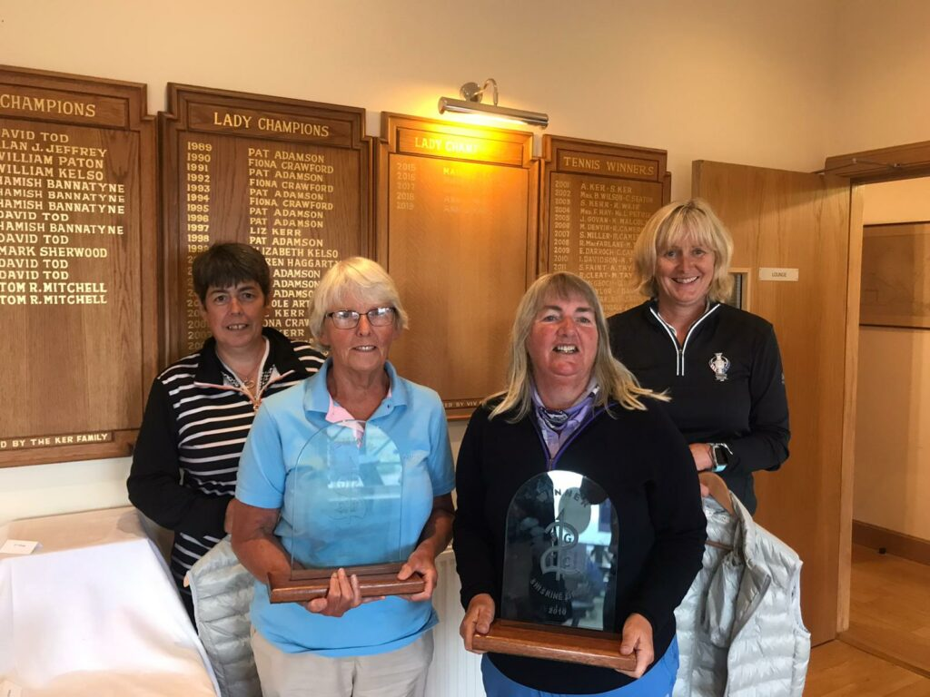 Shiskine Ladies Open Greensomes winners, front, Esther Henderson and Isobel McDonald, along with scratch winners, Susan Butchard, left, and Jennifer Maxwell, right.