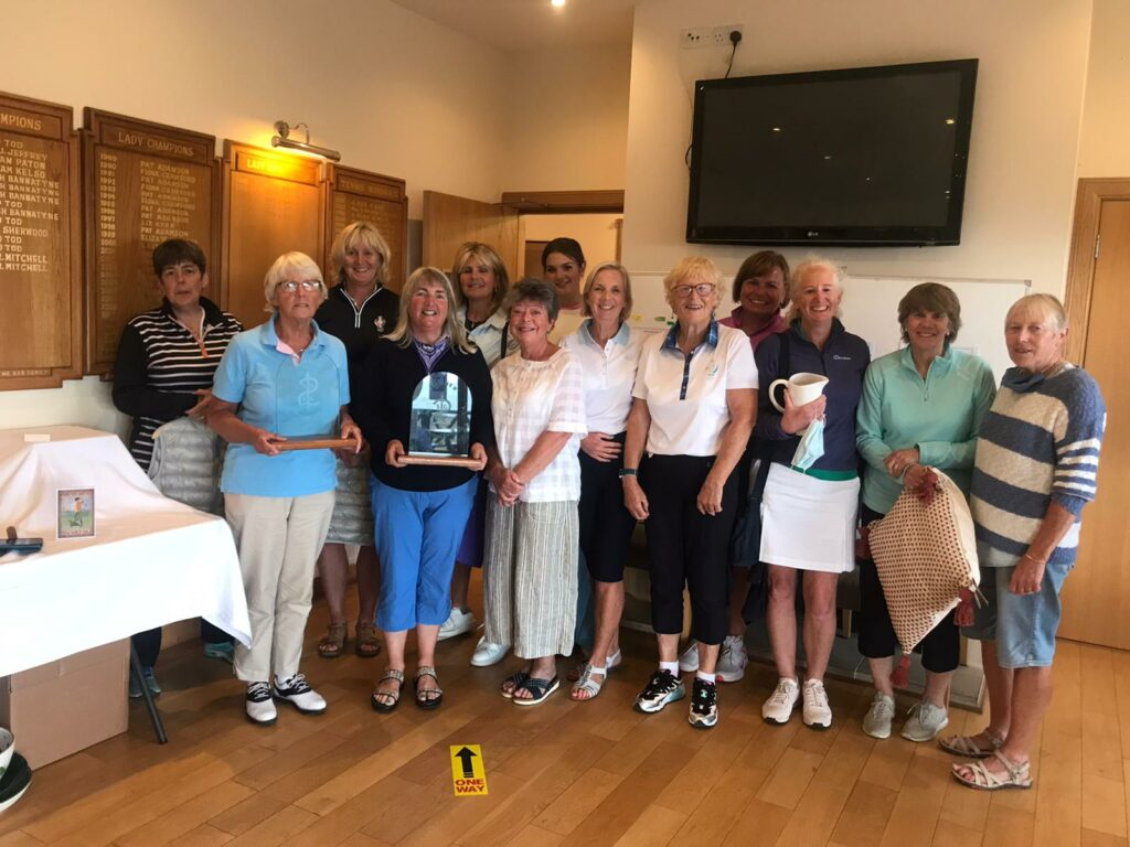 All the prize-winners at the Shiskine Ladies Open Greensomes.