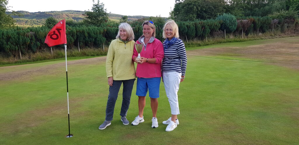 Winner of the Whiting Bay Ladies Open, Gill Lockart, with runners up Elizabeth Paterson and Elizabeth Rankin.