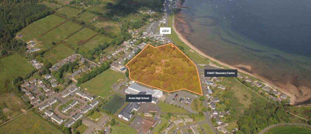 Among the properties for sale is Whitehouse, covering 11.19 acres (4.53 hectares) it is in the centre of Lamlash.