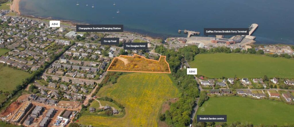 Springbank Way is centrally located in Brodick, It covers 2.86 acres (1.16 hectares) and offers uninterrupted views overlooking Brodick Bay.