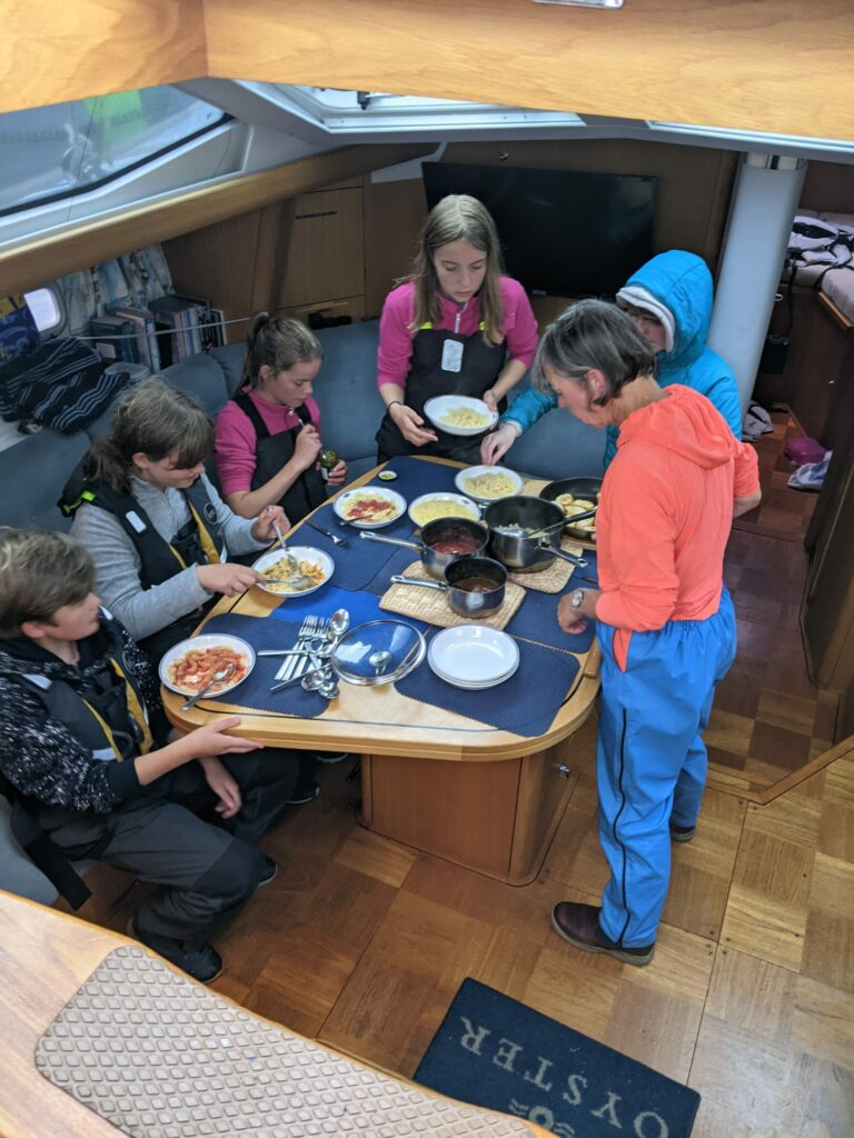 Dinner time on the Can Do during the trip to An Caladh harbour.