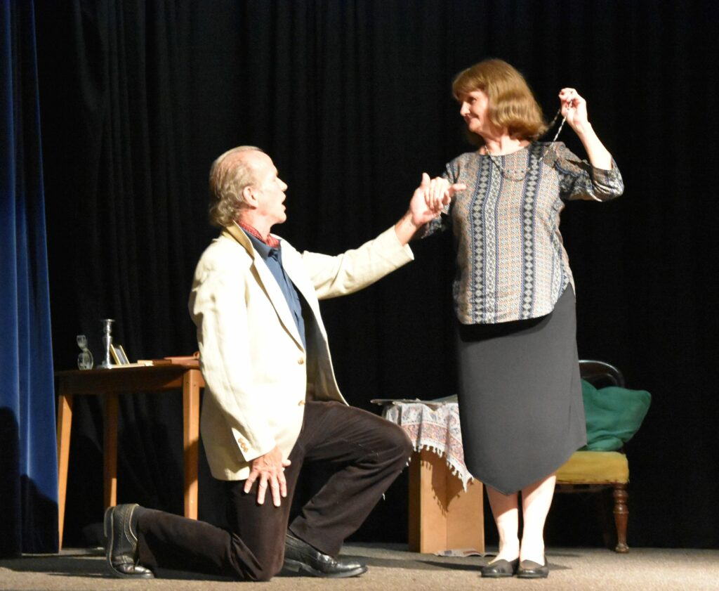 The troublesome thespian, David Simpkin, shows Beverley Scott how it is done.