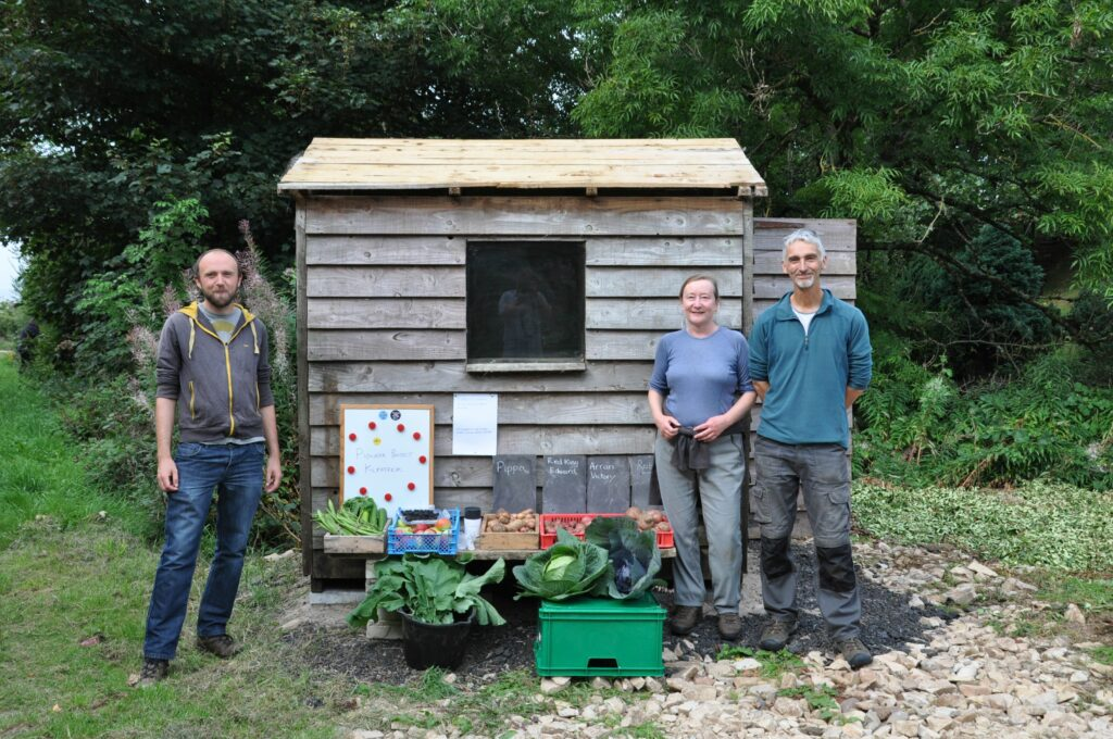 Simon Ross Gill and Pauline and Bill Robinson took visitors on a tour of the Kilpatrick Community Garden.