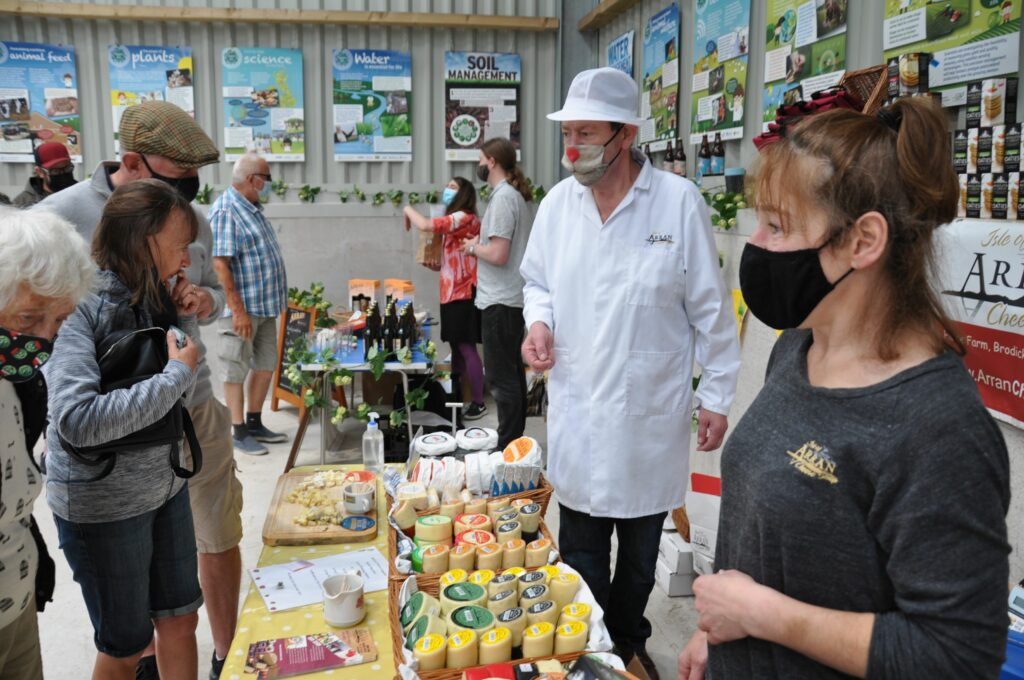 Cheese maker Calum Chaplin and Alison McKie of the Arran Cheese Shop.