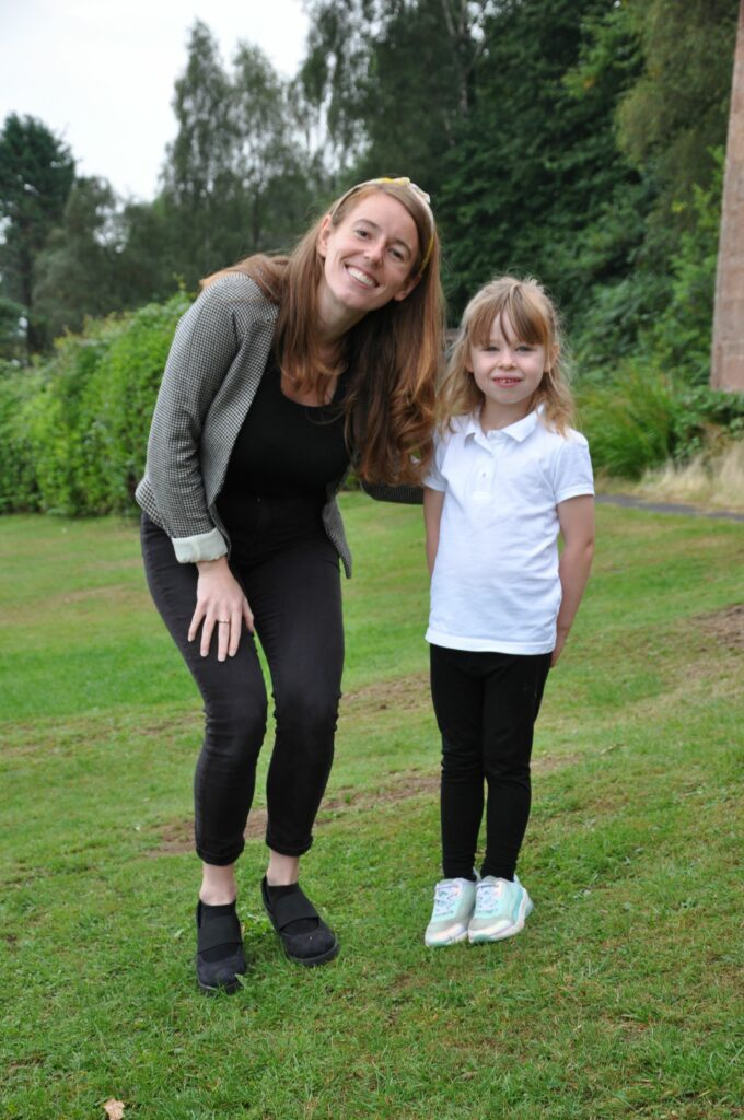 P1 teacher Rachel Pearson with her new pupil at Corrie Primary.