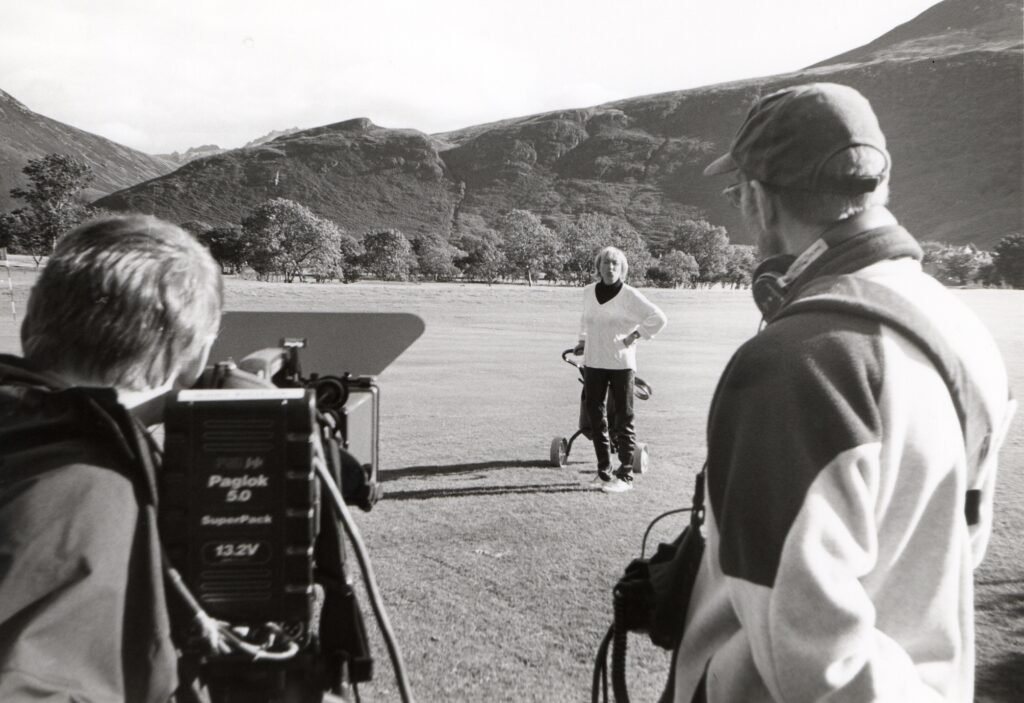Scottish Passport presenter Cathy MacDonald is filmed at Lochranza golf course for an upcoming feature on Arran.
